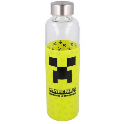 Botella cristal Minecraft funda silicona 585ml - Imagen 1
